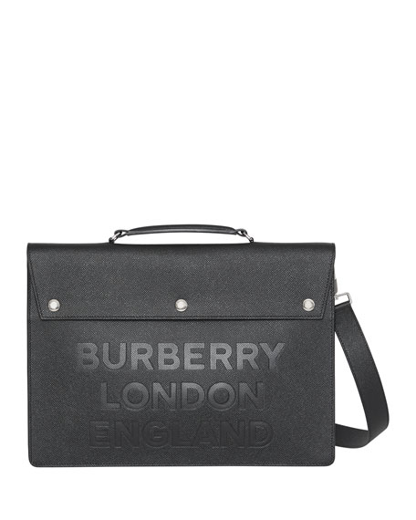 Burberry Men's Embossed Leather Briefcase