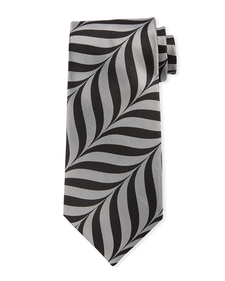 TOM FORD Abstract-Print 9cm Tie, Gray