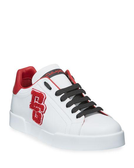 Dolce & Gabbana Men's Portofino Applique Leather Sneakers