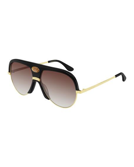 Gucci Men's Universal Fit Metal & Acetate Sunglasses