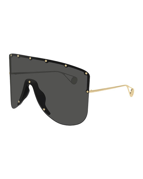 Gucci Men's Star-Trim Shield Sunglasses