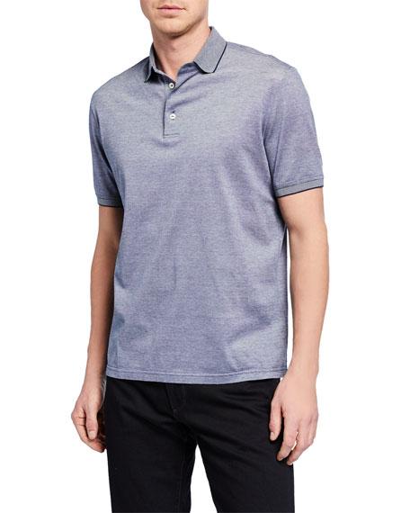Loro Piana T-shirts MEN'S MELVILLE PIQUE OXFORD POLO SHIRT W/ STRIPED COLLAR DETAIL
