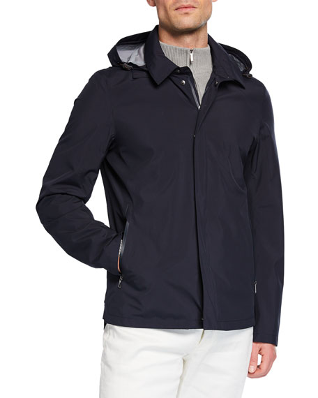 Loro Piana Men's Empire Hooded Water-resistant Jacket In Blue
