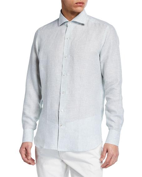 Loro Piana Men's Albert Summer Striped Arizona Linen Sport Shirt