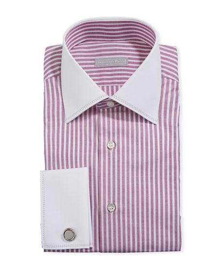 Stefano Ricci Men's Striped Dress Shirt w/ French Cuffs