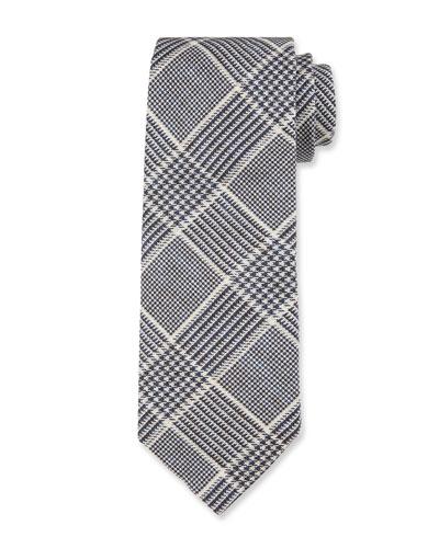 Men's Plaid Linen/Silk Tie