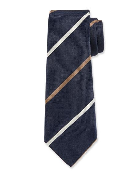 Brunello Cucinelli Bicolor Striped Silk Tie