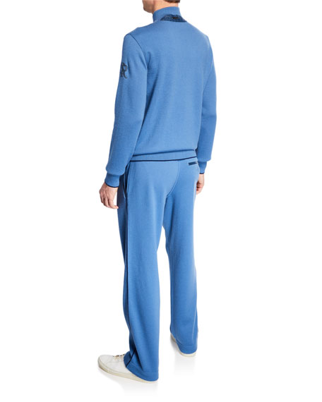 Stefano Ricci Men's Contrast-Trim Knit Jogging Suit