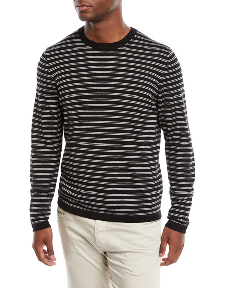 Neiman Marcus Men's Cashmere-Silk Striped Long-Sleeve T-Shirt