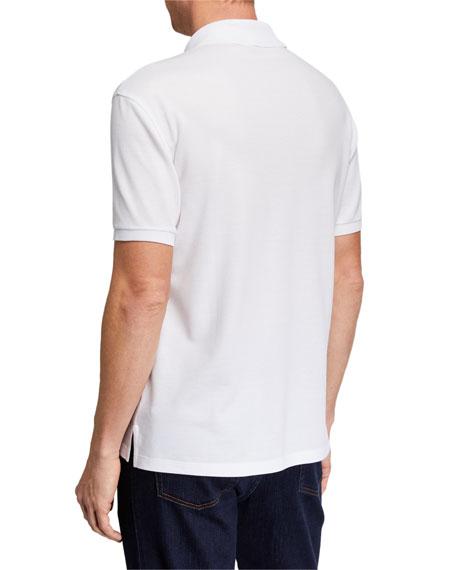 Ermenegildo Zegna Men's Logo-Embroidered Jersey Polo Shirt, White