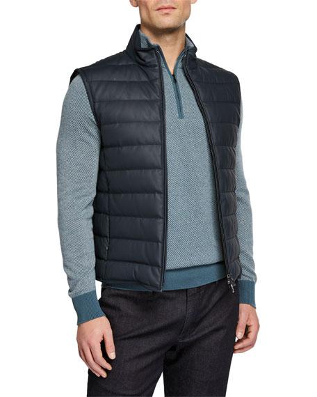Loro Piana Men's Leather Puffer Vest In Blue