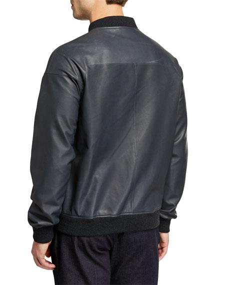 Loro Piana Men's Ivy Knit-Trim Bomber Jacket