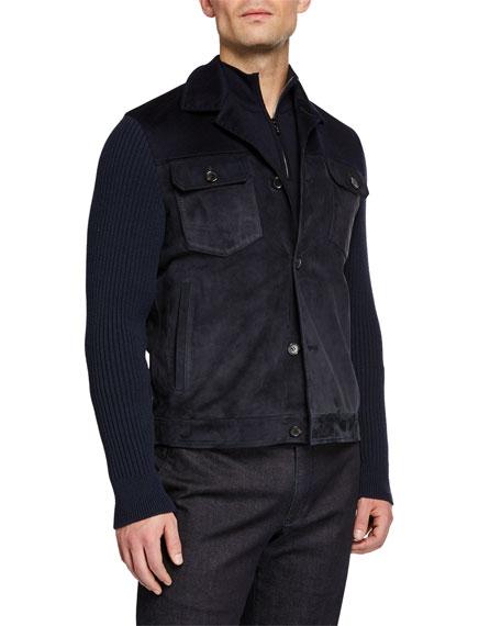 Loro Piana Men's Cashmere-Trim Suede Jacket
