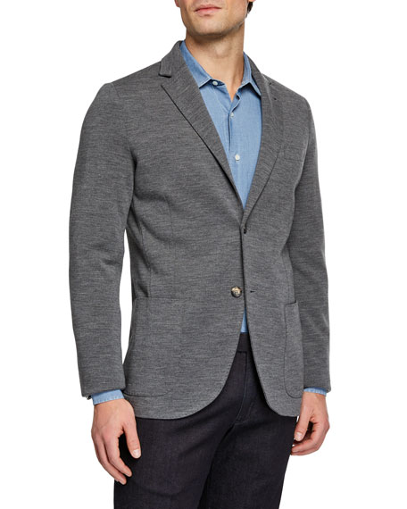 Loro Piana Men's Double Wish Wool Knit Jacket