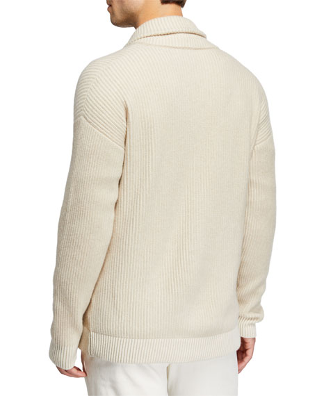 Loro Piana Men's Shawl-Collar Button-Front Rib Cashmere Cardigan