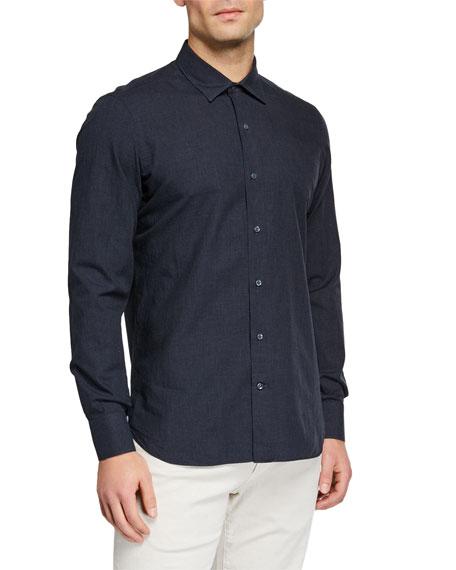 Loro Piana Men's Arthur Melange Check Sport Shirt