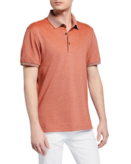 Ermenegildo Zegna Men's Cotton Jersey Polo Shirt, Orange