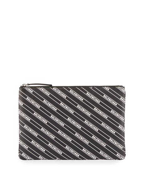 Balenciaga Men's Supermarket Clip Leather Logo Pouch