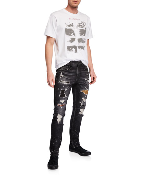 R13 Men's Boy Leopard Patch Repaired Distressed Jeans