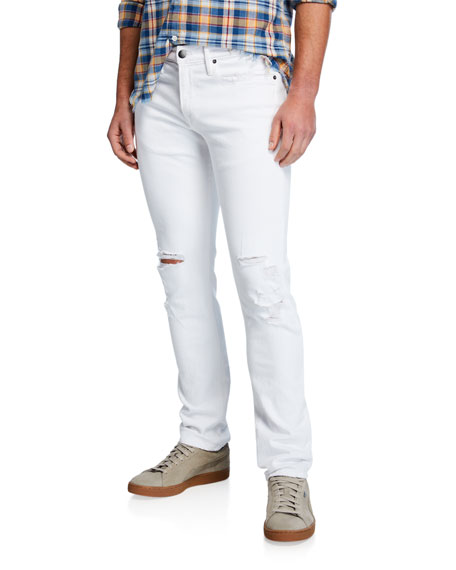 FRAME Men's L'Homme Skinny-Fit Distressed Jeans with Ripped Knees