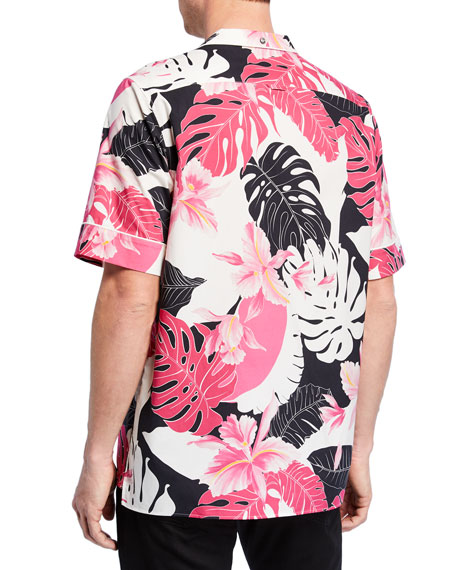 Valentino Men's Two-Tone Hawaiian-Print Short-Sleeve Sport Shirt