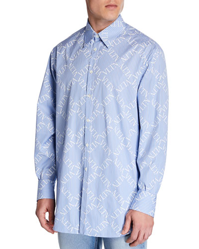Men's Logo-Pattern Chambray Sport Shirt