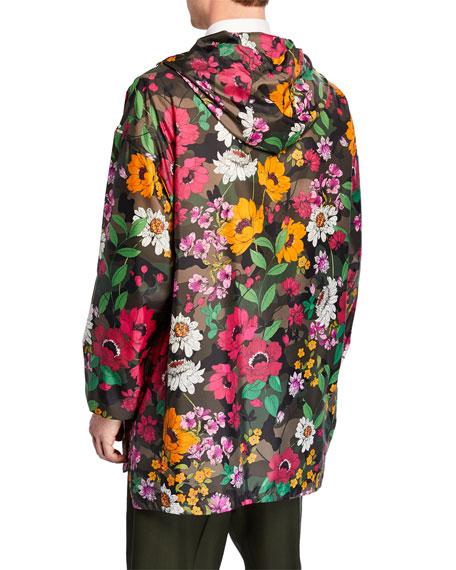 Valentino Men's Floral-on-Camo Wind-Resistant Jacket