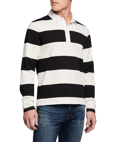 FRAME Men's Long-Sleeve Striped Rugby Polo Shirt