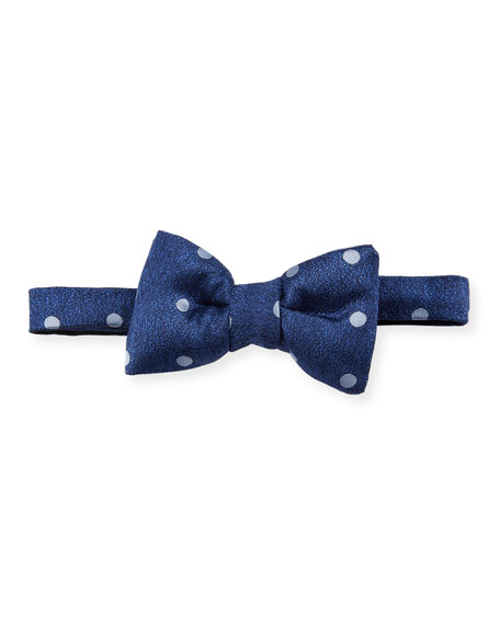 TOM FORD Polka Dot Silk Bow Tie, Blue