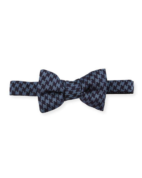 TOM FORD Houndstooth Classic Bow Tie, Blue