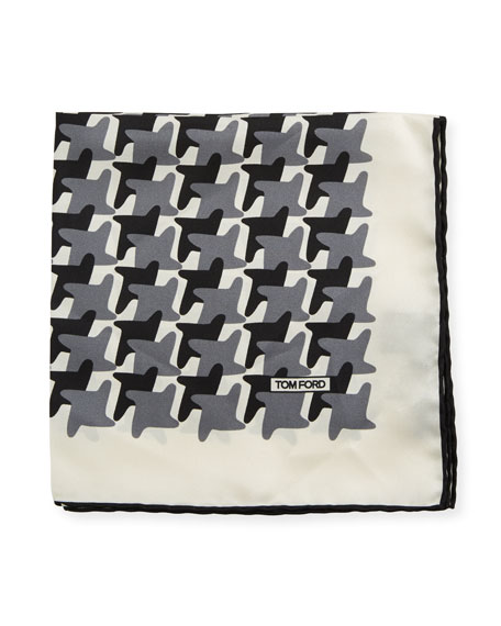 TOM FORD Abstract-Pattern Silk Pocket Square, Black