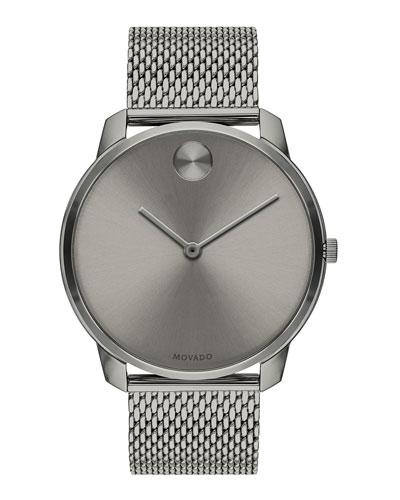 Men's Bold Thin Mesh-Bracelet Watch  Gray