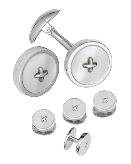 Jan Leslie Classic Button Mother-of-Pearl Cufflinks & Studs Set