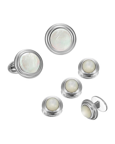 Mother-of-Pearl Cufflinks & Stud Set