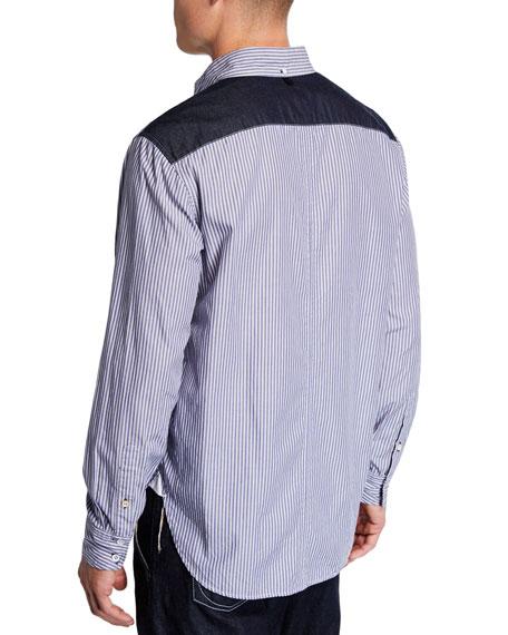 a832194db5 Image 2 of 3: Rag & Bone Men's Levine Chambray Trim Striped Sport Shirt