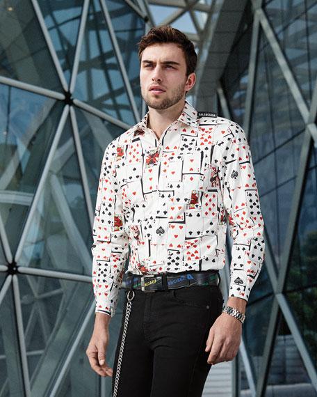 Balenciaga Men's Shrunken Cards-Print Sport Shirt