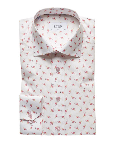 Men's Slim Fit Flamingo Cone Print Dress Shirt