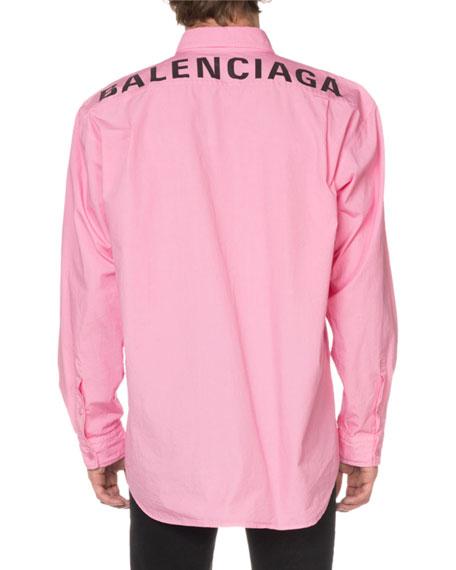 Balenciaga Men's Oxford Sport Shirt with Logo Back