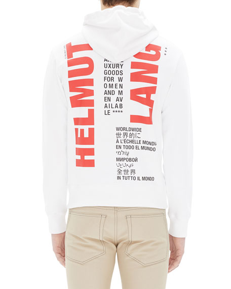 Helmut Lang Men's Worldwide Graphic-Back Hoodie