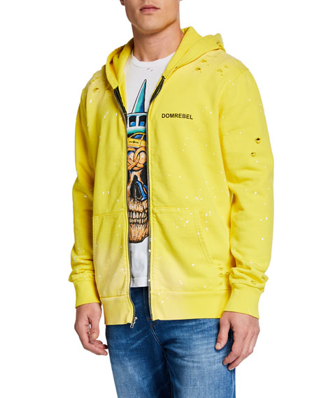 Domrebel Men's Taxi-Pattern NY Graphic Zip-Front Hoodie