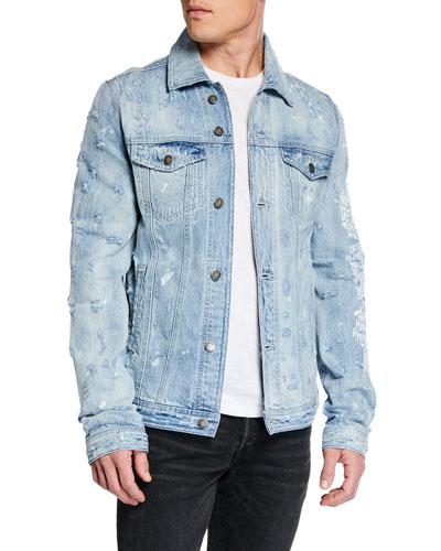 Men's New York Distressed Jean Jacket