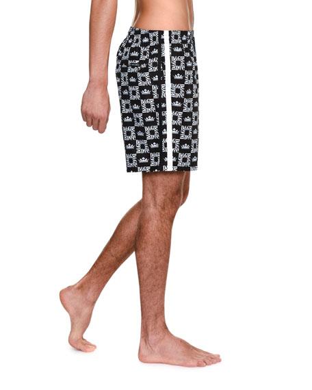 Dolce & Gabbana Men's Logo Print Swim Trunks