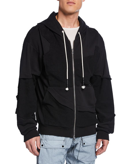Mostly Heard Rarely Seen Men's Raf Paneled-Cotton Zip-Front Hoodie