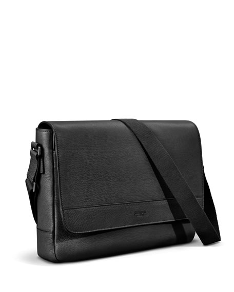 Shinola Men's Slim Signature Leather Messenger Bag