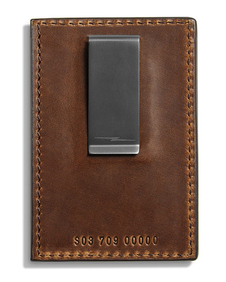 Shinola Cases Men's Navigator Leather Card Case with Money Clip