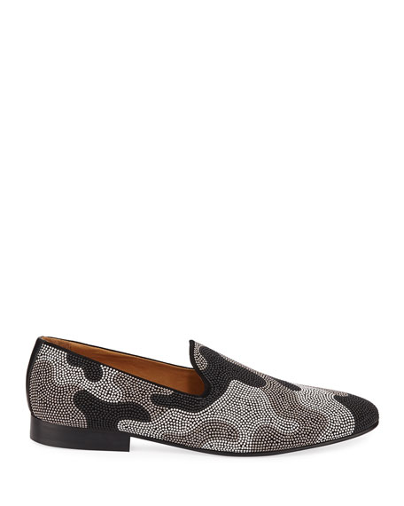 Donald J Pliner Men's Camo Stud Suede Loafers