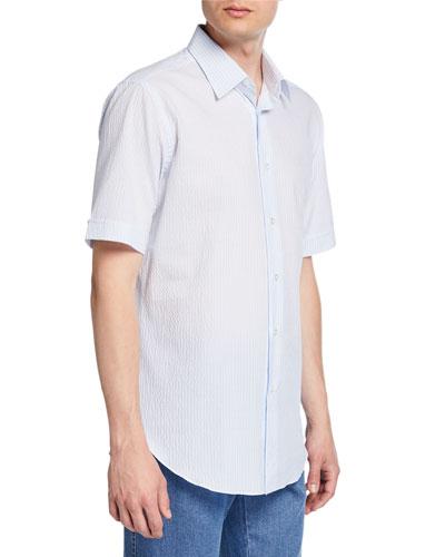Men's Pinstriped Seersucker Short-Sleeve Sport Shirt