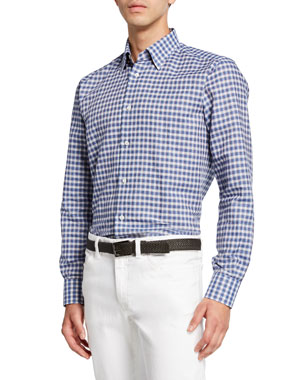 8b4831ee7b1456 Brioni Men's Cotton/Linen Check Sport Shirt