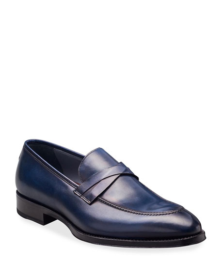 di Bianco Men's Deco Leather Penny Loafers