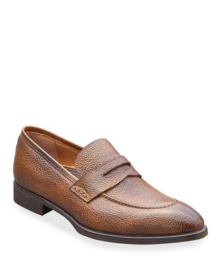 di Bianco Men's Scotch Grain Leather Penny Loafers